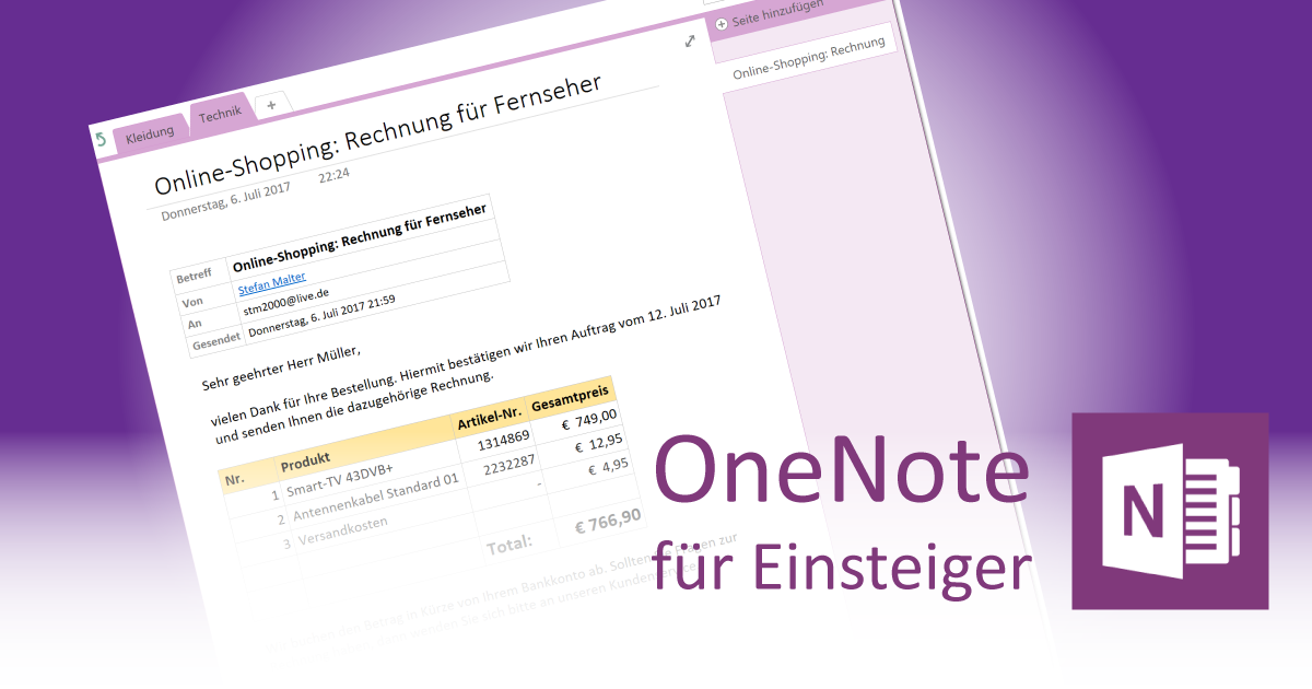 e mails aus outlook in onenote einf gen onenote f r. Black Bedroom Furniture Sets. Home Design Ideas